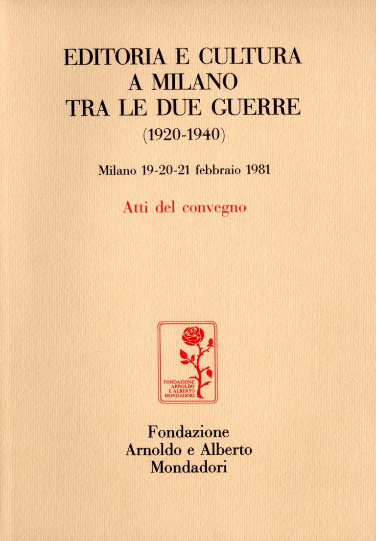 Editoria e cultura a Milano tra le due guerre copertina