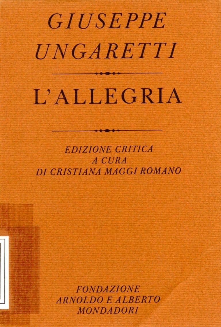 Giuseppe Ungaretti. L'allegria copertina
