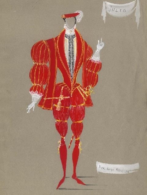 """Bozzetto del costume di Pier Luigi Pizzi per """"La Venexiana"""" di anonimo del Cinquecento, 1954"""