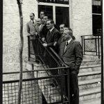 I direttori dei periodici Mondadori. Si riconoscono tra gli altri Tedeschi, Mario Gentilini e Enzo Biagi.