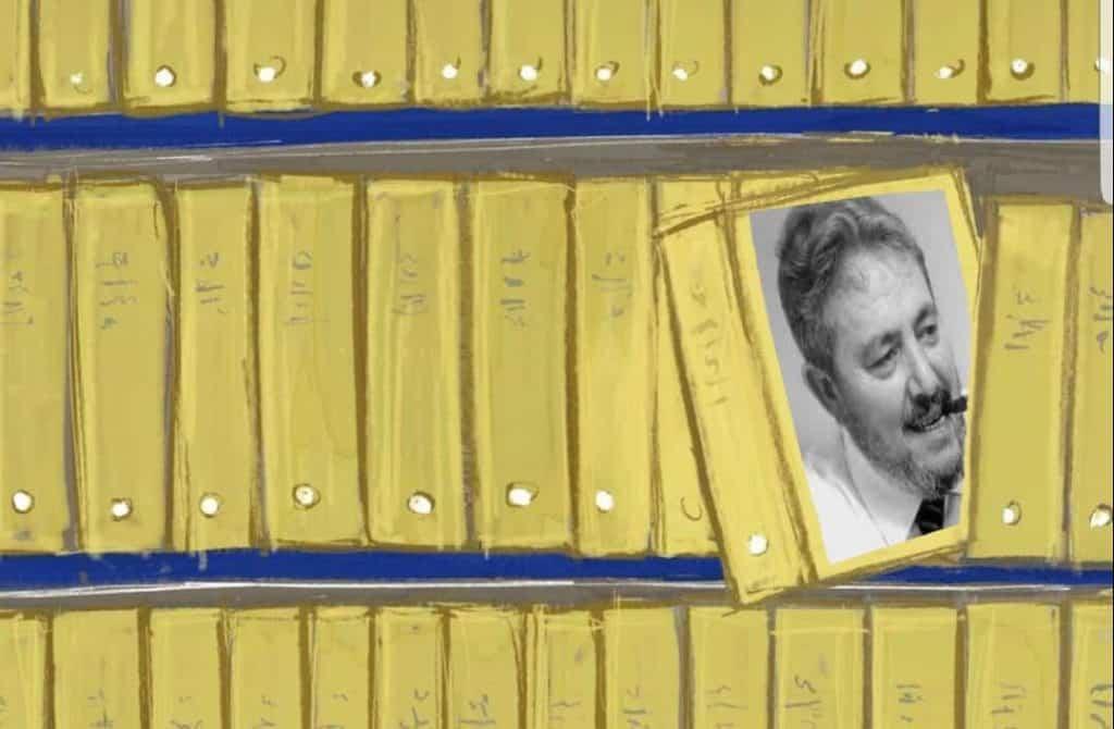illustrazione archivio con faldone Gianni Brera
