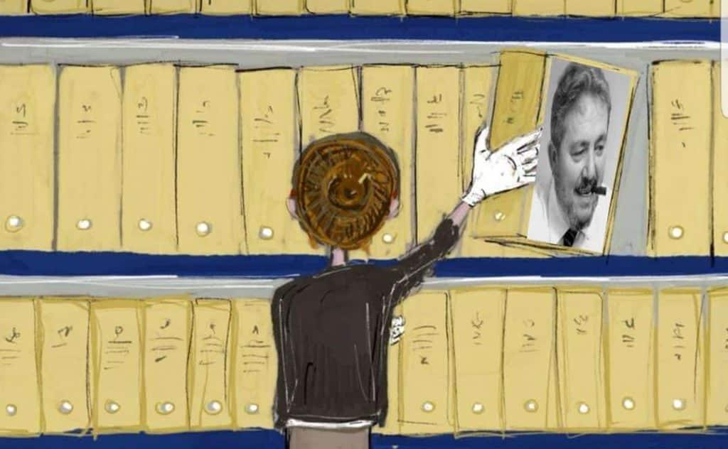 illustrazione che raffigura un'archivista mentre ripone in scaffare un faldone con la foto di Gianni Brera